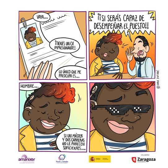 Comic mujer discapacidad auditiva