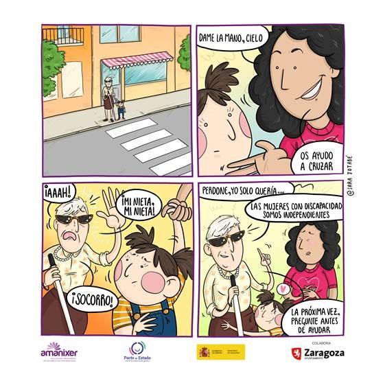 Comic mujer discapacidad visual